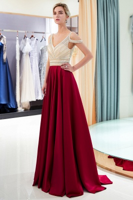 2020 V-Neck Sleeveless Red Evening Dresses   Sexy Crystal Open Back Prom Dress_4