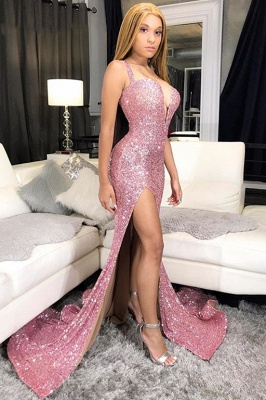 Sequins Pink Prom Dresses Cheap 2020 | Mermaid Sexy Slit Formal Evening Gowns Long_4