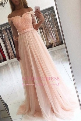 A-line Lace Glamorous Half Sleeves Evening Gown 2020 Cheap Off The Shoulder Tulle Prom Dresses_2