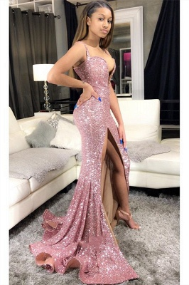 Sequins Pink Prom Dresses Cheap 2020 | Mermaid Sexy Slit Formal Evening Gowns Long_5