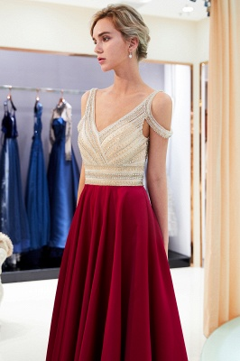 2020 V-Neck Sleeveless Red Evening Dresses   Sexy Crystal Open Back Prom Dress_5