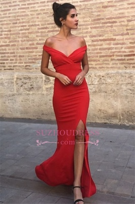 Charming Off-The-Shoulder Floor-Length Mermaid Prom Dresses   Sleeveless Front Split 2020 Evening Gown_2