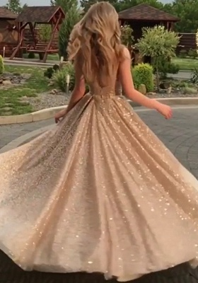 Open Back Champagne Gold Sequins Prom Dresses 2020 | Sleeveless Sexy Cheap Evening Gowns BC0562_5