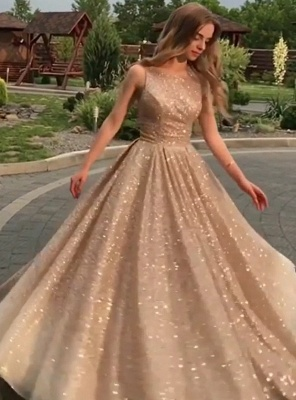 Open Back Champagne Gold Sequins Prom Dresses 2020 | Sleeveless Sexy Cheap Evening Gowns BC0562_3