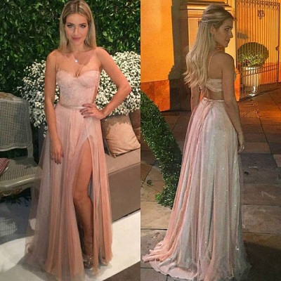 Pink Spaghetti Straps Tulle Backless Side Split Prom Dresses Lace Sexy 2020 Party Dress BA5058_2