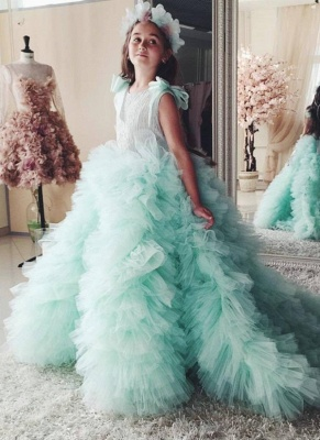 Princess Tiered Ruffles Tulle Girls Pageant Dresses | Bowknot Green Ball Gown Flower Girls Dresses_1