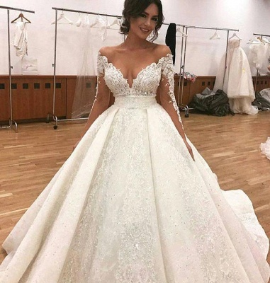 Elegant Lace Long Sleeves Wedding Dresses | Ball Bridal Gowns with Beadings_2
