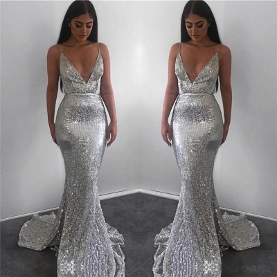 Spaghetti Straps Silver Sequins Sexy Evening Dresses | 2020 V-neck Mermaid Cheap Formal Prom Dresses BC0851_3