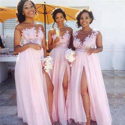Pink Lace Chiffon Sexy Bridesmaid Dresses 2020 Splits Long Dress for Maid of Honor Online BA6919_3