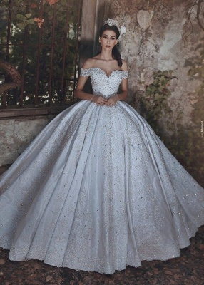 New Arrival Off-the-Shoulder Lace Wedding Dresses 2020 Crystal Lace-Up Ball Bridal Gowns_1