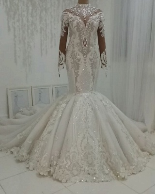 Gorgeous Ctystal High Neck Mermaid Wedding Dresses | Sparkling Appliques Long Sleeve Bridal Gowns_2