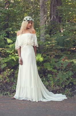 Off The Shoulder 2020 Bohemian Wedding Dresses Lace Summer Beach Wedding Gown BO6883_3