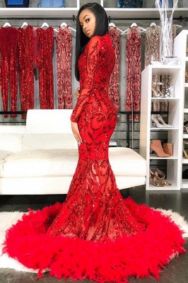 Sparkle Appliques Long Sleeve Mermaid Red Prom Dresses Cheap with Feather BC4126_2