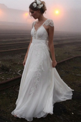2020 V-neck Summer Outdoor Wedding Dress Lace Cap Sleeve Open Back Bridal Gowns_1