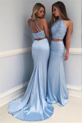 Gorgeous Blue Mermaid Two Pieces Prom Dresses 2020 Crystal Court Train Evening Gowns SK0082_1