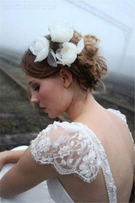 2020 V-neck Summer Outdoor Wedding Dress Lace Cap Sleeve Open Back Bridal Gowns_4