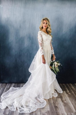 Elegant Appliques A-line Wedding Dresses | Lace Long Sleeve Bridal Gowns Online_2