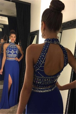 High Collar Beading Two Piece Prom Dress Blue Open Back Split Formal Occasion Dresses_1