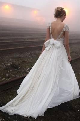 2020 V-neck Summer Outdoor Wedding Dress Lace Cap Sleeve Open Back Bridal Gowns_3