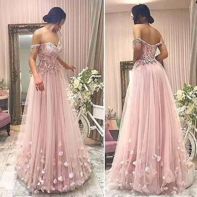Pink Off the Shoulder Long Evening Dresses Online | 2020 Cheap Tulle Flowers Prom Dresses with Beading_3