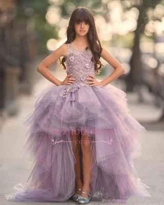 Glamorous Hi-Lo Sleeveless Appliques Scoop Tulle Pageant Dress