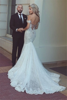 Sexy Mermaid Lace Off-the-Shoulder Wedding Dresses 2020 Open Back Bridal Gowns BA7275_3