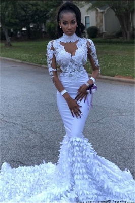 Lace High Neck Mermaid Prom Dress | Sexy Long Sleeve 2020 Evening Dresses_1