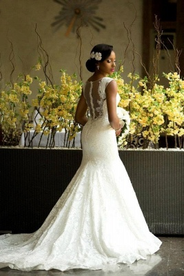 Elegant Lace Sleeveless Wedding Dress Long Mermaid Bridal Gowns Online_1