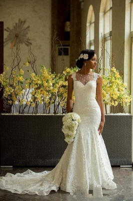 Elegant Lace Sleeveless Wedding Dress Long Mermaid Bridal Gowns Online_4