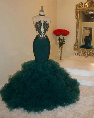 Sparkling Sequins Appliques Prom Dresses 2020 | Halter Backless Mermaid Green Evening Gowns Cheap bc4061_2