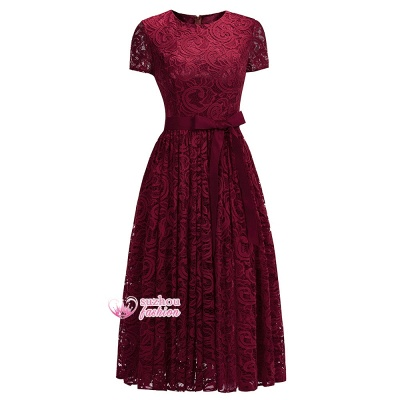 Lace Red Short-sleeves  Bow Sheath Ribbon Sexy Prom Dresses_1