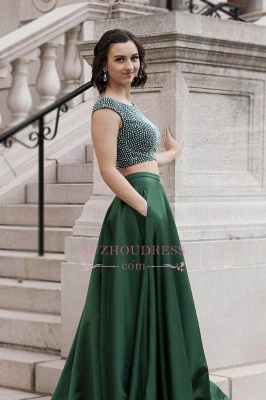 Green Sleeveless A-Line Evening Gowns | Two-Piece Crystals Prom Dresses_2