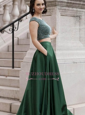 Green Sleeveless A-Line Evening Gowns | Two-Piece Crystals Prom Dresses_4