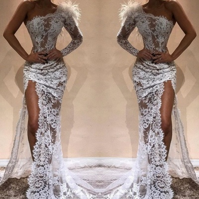 Gorgeous One Shoulder White Lace Prom Dress Mermaid Long Evening Gowns With Slit_2