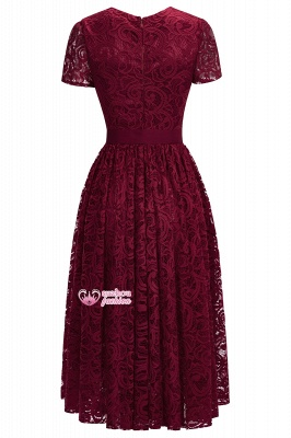 Lace Red Short-sleeves  Bow Sheath Ribbon Sexy Prom Dresses_2