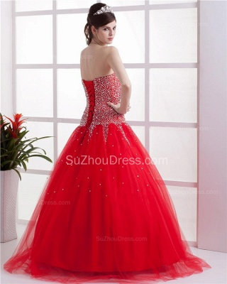 Red Sweetheart Quinceanera Dresses 2020 Sequins Beading  Floor Length Lace-up Tulle Sleeveless Prom Dresses_5