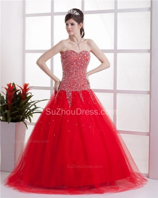 Red Sweetheart Quinceanera Dresses 2020 Sequins Beading  Floor Length Lace-up Tulle Sleeveless Prom Dresses_1