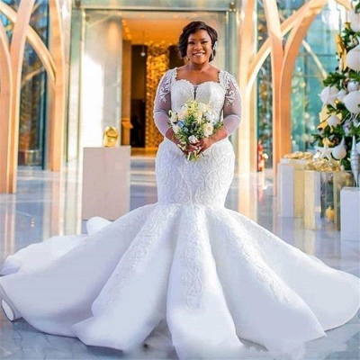 Plus Size Mermaid Lace Wedding Dresses | 2020 Sexy Wedding Dress with Sleeves_5