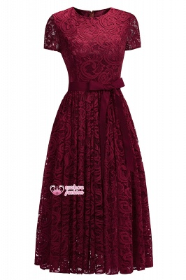 Lace Red Short-sleeves  Bow Sheath Ribbon Sexy Prom Dresses_7