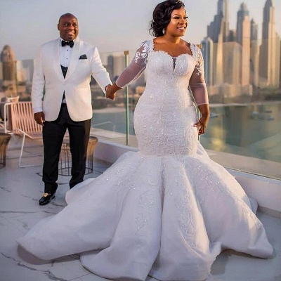 Plus Size Mermaid Lace Wedding Dresses | 2020 Sexy Wedding Dress with Sleeves_4