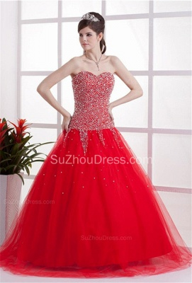 Red Sweetheart Quinceanera Dresses 2020 Sequins Beading  Floor Length Lace-up Tulle Sleeveless Prom Dresses_6