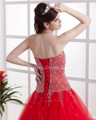 Red Sweetheart Quinceanera Dresses 2020 Sequins Beading  Floor Length Lace-up Tulle Sleeveless Prom Dresses_4