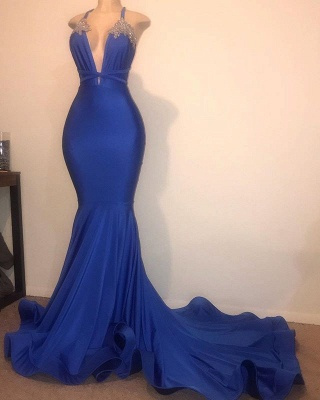 Spaghetti Straps Beads Appliques Prom Dresses | Sexy V-neck Mermaid Evening Gowns Cheap_2