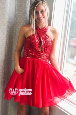 Halter Sequin Short A-line Homecoming Dresses_2