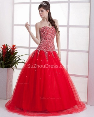 Red Sweetheart Quinceanera Dresses 2020 Sequins Beading  Floor Length Lace-up Tulle Sleeveless Prom Dresses_2