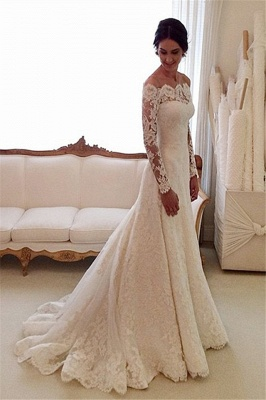 White Off-the-shoulder Lace Long Sleeve Bridal Gowns Sheath Cheap Simple Custom Made Wedding Dresses_3
