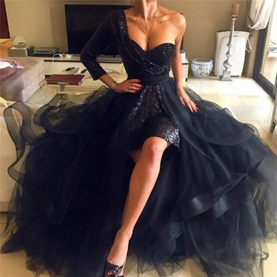 One Sleeve Black Sequins Prom Dresses Cheap | Detachable Overskirt Tulle Evening Gowns_2