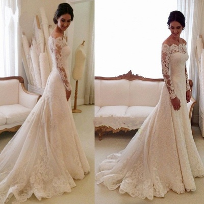 White Off-the-shoulder Lace Long Sleeve Bridal Gowns Sheath Cheap Simple Custom Made Wedding Dresses_2