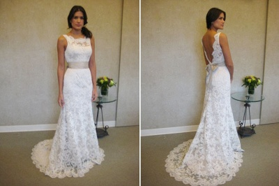 Formal White Lace Sweep Train Bridal Gown Simple Popular Custom Made Plus Size Wedding Dress BA3872_3