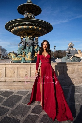 2020 Off The Shoulder Long Sleeves Prom Dresses Cheap | A-Line Slit Elegant Evening Dresses_4